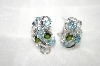 **MBA #21-385  Platinum Plated Silver Aquamarine,Zircon & Chrome Diopside Earrings