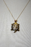 "**MBA #21-499  ""14K Diamond Turtle Pin/Pendant With Chain"