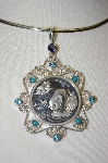 **MBA #21-510  Sterling Iolite, Turquoise & Topaz 1997 Panda Coin Pendant