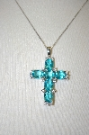 **MBA #21-204  Artist Stamped Sterling Sky Blue & Clear Zircon Cross Pendant With Chain