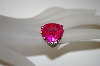**MBA #21-139  Charles Winston Heart Cut Created Pink Sapphire & CZ Ring