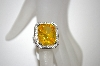 **MBA #21-131  Charles Winston Canary Octagon Cut CZ Ring