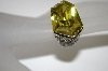 **MBA #21-396  Charles Winston Large Fancy Cut Green & Clear CZ Ring