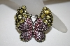 **MBA #21-526  Nolan Miller Pink & Yellow Crystal Butterfly Brooch