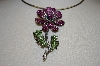 Large Pink, Clear & Green Crystal Flower Pendant
