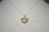 "**MBA #21-225    14K Yellow Gold Diamond Heart Pendant With 16"" Chain"