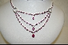 "**MBA #CW-CPSNE  ""Charles Winston 16"" Triple Dangle Created Pink Sapphire Necklace & Earrings"