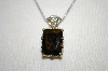 "**MBA #21-413  Smokey Quartz & Clear Sapphire Pendant With 18"" Chain"