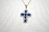 "**MBA #21-347  14K YG  6 Stone Blue Sapphire Cross With 18"" Chain"
