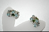**Aquamarine,Zircon & Chrome Diopside Platinum /Sterling Earrings