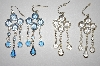 Set Of 4 Pairs Silver Tone Bezel Set Acrylic Dangle Earrings