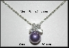 MBA #21-417  Charles Winston Simulated Purple Pearl & Clear CZ Pendant & Earrings Set