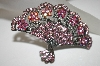 """SOLD"" MBA #21-543  ""Kirks Folly Pink Crystal Fan Pin/Pendant"