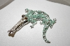 **MBA #21-528 Platinum Plated Silver Emerald Alligator Brooch