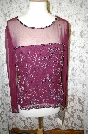 "**MBA #16-015  ""Papell Studio Maroon Silk Hand Beaded Top"