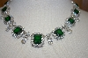 """SOLD""  Charles Winston Simulated Emerald & Clear CZ Necklace"