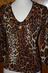 Designer Elizabeth New York Hand Embelished Animal Print Sweater