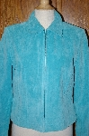 "*MBA #23-492   ""Designer Yvonne Marie Turquoise Blue Suede Jacket"