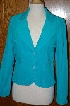 "**MBA #23-462   ""Designer ""New Fall"" Turquoise Blue Corduroy Jacket"