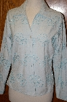 "MBA #24-496  ""Coldwater Creek One Of A Kind Hand Beaded  Large Blue Embroidered Shirt"