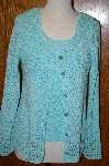 "MBA #24-496  ""Coldwater Creek Turquoise Blue 2 Piece Shell & Sweater Set"