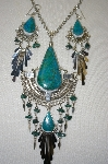 """SOLD""  Peruvian Blue/Green Turquoise Large Necklace & Earrings Set"