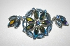 Three Shades Of Blue & Ab Crystal Brooch & Matching Clip On Earrings