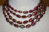 Made In Austria 3 Row Red Ab Acrylic Bead Necklace With Matching Clip On Earrings