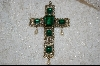 **  Antique Emerald  Green Glass Cross Pendant