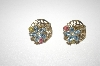 **MBA #24-262  Tafari Blue,Pnk & Clear Crystal Clip On Earrings