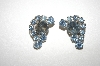**MBA #24-302  Blue Crystal Clip Style Earrings