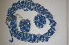 Made In Germany Blue & Clear Acrylic Bead Necklace & Earring Set