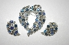 Lisner Blue AB Crystal Pin & Matching Clip On Earring Set