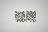 **MBA #24-383   Silver Tone Square Clear Crystal Clip On Earrings