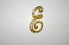 "+MBA #24-416  Vintage Gold Plated Fancy ""E"" Pin With Crytsals"