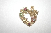 +MBA #24-412   Vintage Gold Plated Faux Pearl & Crystal Heart Shaped Pin