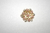 +MBA #24-407   Vintage Gold Plated Faux Pearl & Pink Crystal Pin