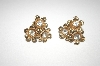 **MBA #24-472   Vintage Barclay Gold Plated & Crystal Flower Clip On Earrings