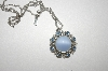 "**MBA #24-452  Avon In Blues Avon Pendant With 18"" Chain"