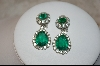 """SOLD""  Antique ""Ciner"" Emerald Green Glass & Clear Crystal Clip On Earrings"