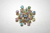 +MBA #24-443  Gold Plated Multi Colored Crystal Pin