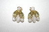 Gold Plated White Marbled Glass & Yellow Rhinestone Clip On Earrings