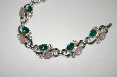 "+MBA #24-429  ""Silver Plated Crystal & Opal Glass Bracelet"