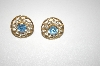 **MBA #24-464  Gold Plated Blue & Clear Crystal Screw Back Earrings