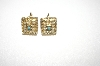 +MBA #24-480   Gold Plated Square Small Faux Pearl Earrings