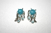 Silver Plated Faux Turquoise & Blue Crystal Earrings
