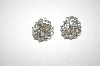 **MBA #21-506   Silver Tone Clear Crystal Clip On Earrings