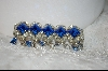 "**  ""Depose"" Blue & Clear Crystal Double Pined Brooch"