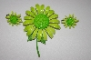 **MBA #25-046  Vintage Green Enamel Flower Pin With Matching Clip On Earrings