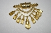 +MBA #25-013  Vintage Gold Plated Dangle Brooch